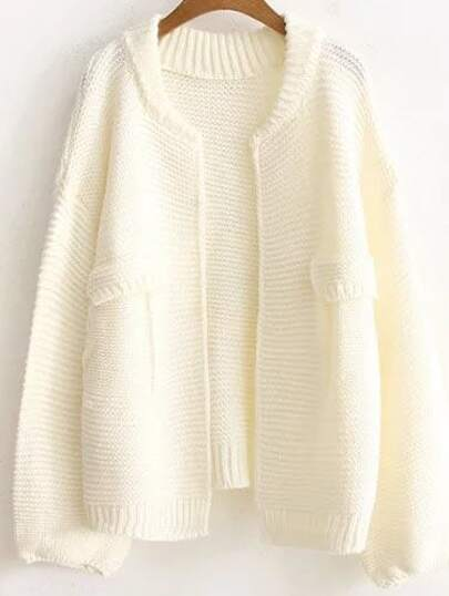 Beige Ribbed Trim Open Front Sweater Coat With Fake Pockets