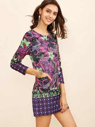 Floral Print Pockets Tee Dress