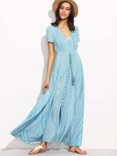 Blue Geometric Print V Neck Drawstring Button Front Dress