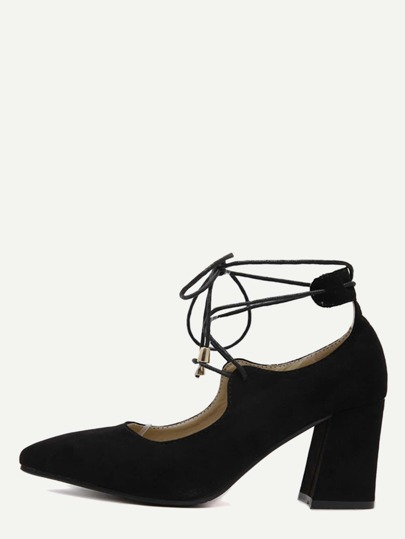 Black Faux Suede Lace Up Pointed Toe Shoes
