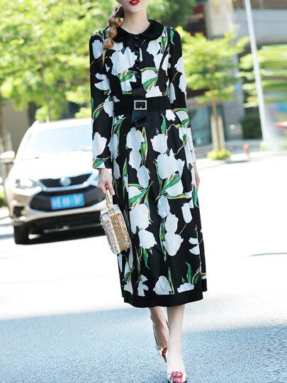 Vestido largo estampado floral con cinturón - negro