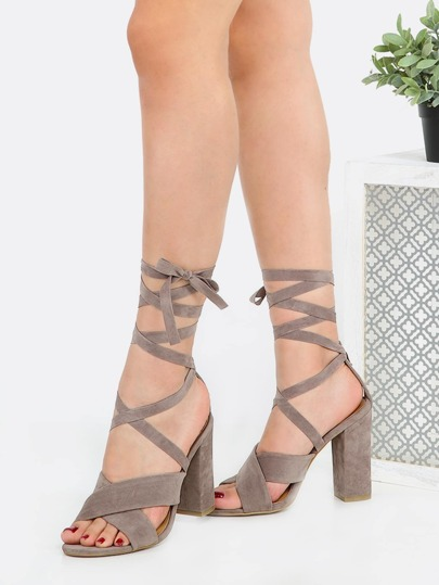 Wrap Up Open Toe Chunky Heels TAUPE