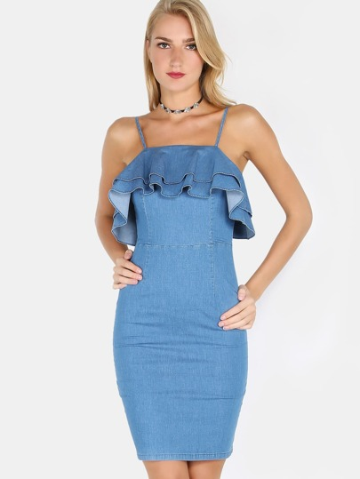 Ruffled Denim Dress DENIM BLUE