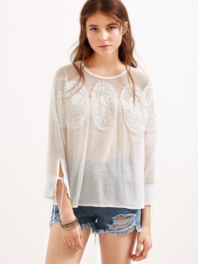 Blusa de malla con apliques - blanco