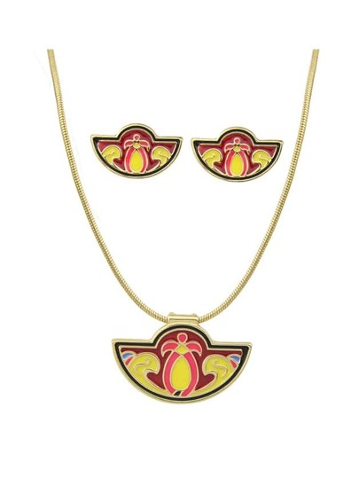 Yellow Enamel Fan Shape Necklace Earrings Set