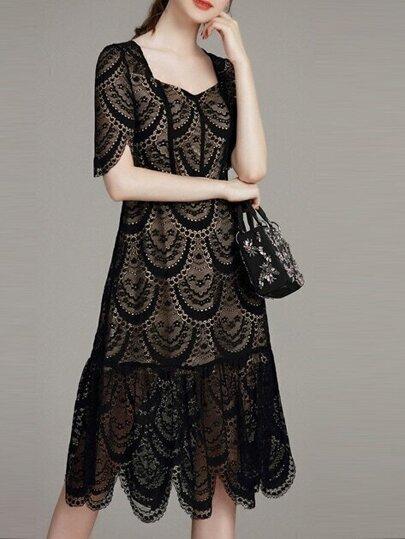 Vestido de malla con cuello barco - negro
