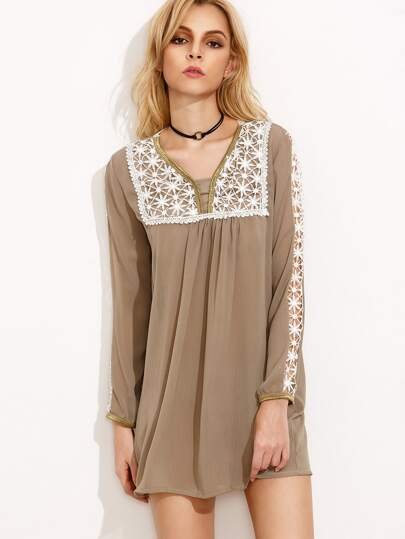 Khaki Flower Crochet Applique Tunic Dress