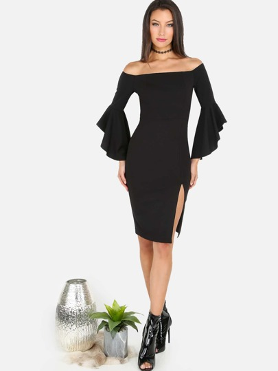 Open Shoulder Slit Midi Dress BLACK