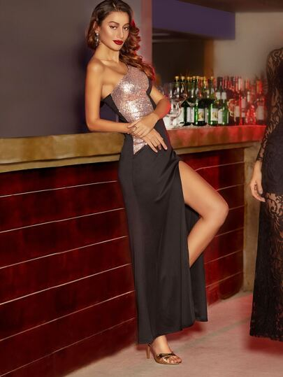 Black Contrast Sequin Panel High Slit One Shoulder Dress