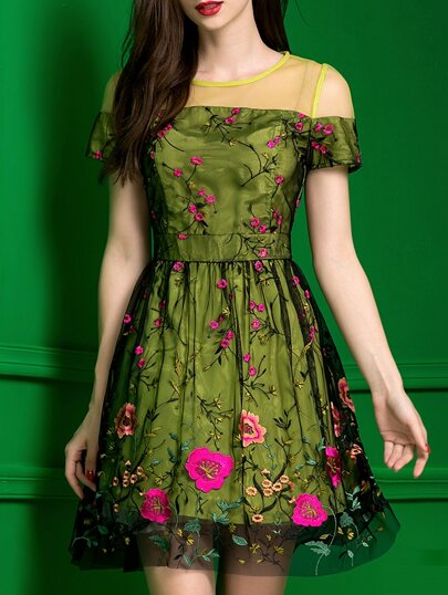 Green Gauze Embroidered A-Line Dress