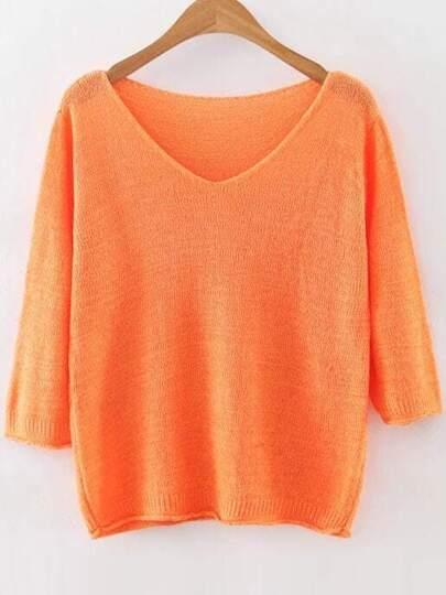 Orange V Neck Ribbed Trim Knitwear