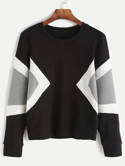 Black Contrast Panel Sweatshirt
