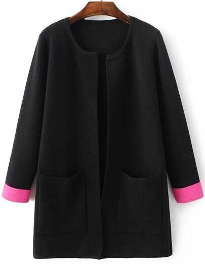Black Contrast Cuff Pocket Long Cardigan
