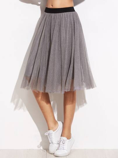 Falda de malla con cintura elástica - gris