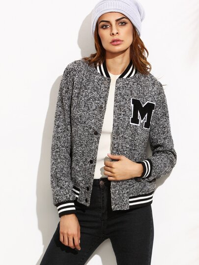 Grey Marled Knit Baseball Jacket With Letter Patch