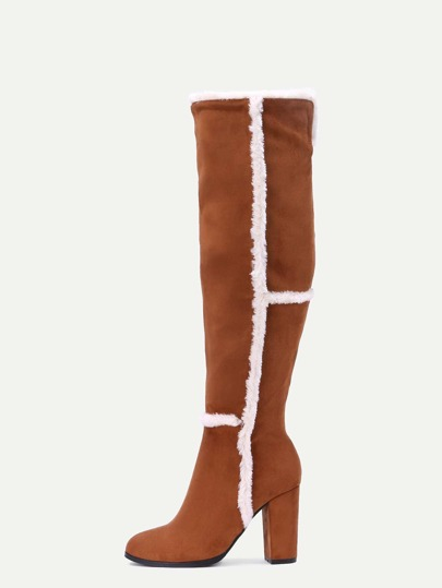 Camel Faux Suede Point Toe Knee High Boots