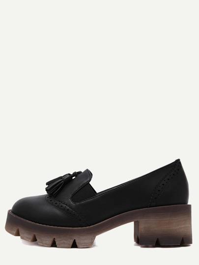 Black Wingtips Faux Leather Tassel Shoes