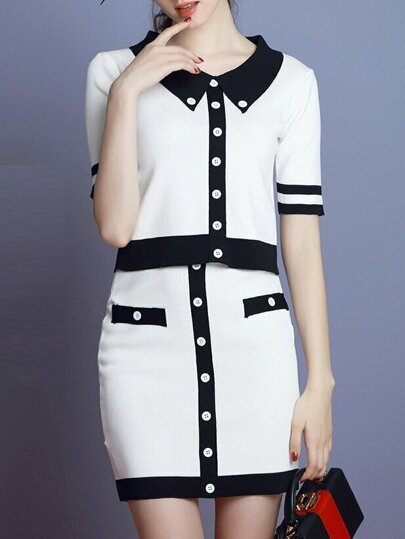 White Black Color Block Top With Knit Skirt