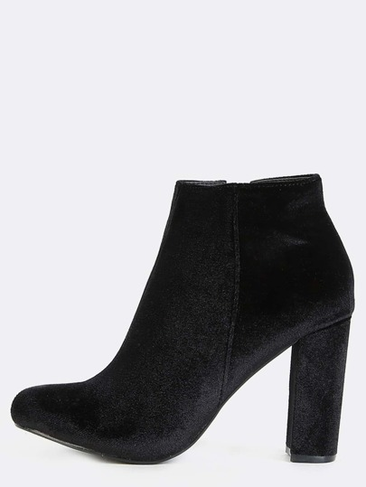 Low Cut Velvet Ankle Boots BLACK