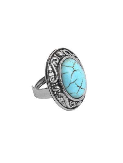 Antique Silver Turquoise Embellished Vintage Ring