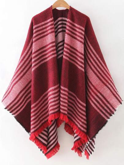 Red Stripe Frayed Poncho Scarf