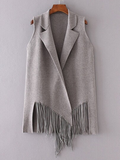 Grey Open Front Fringe Sleeveless Cardigan
