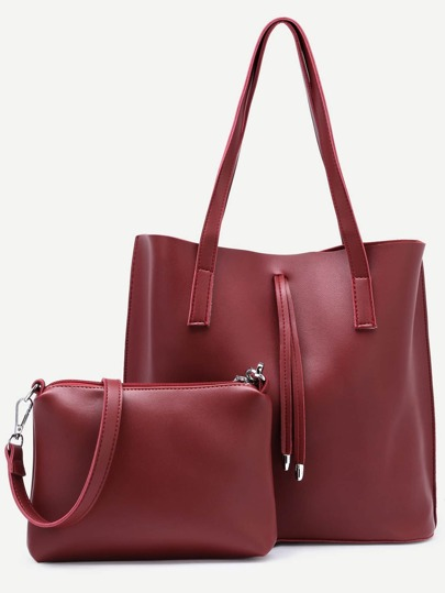 Burgundy Tote Bag With Crossbody Bag