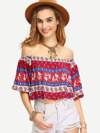 blouse court épaule dénudée - multicolore