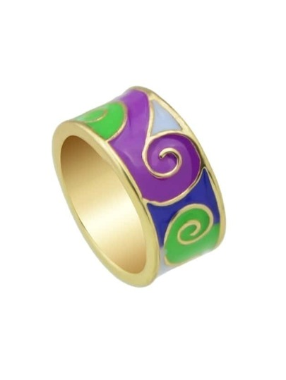 Green Round Gold Plated Finger Ring