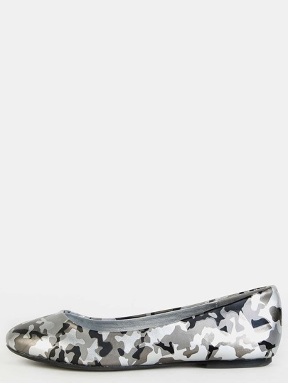 Round Toe Camouflage Flats SILVER