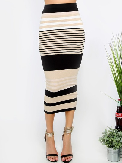 Multicolor Striped Sheath Midi Skirt