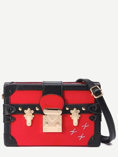 Red Print Pushlock Box Bag