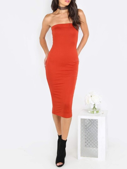 Rust Red Tube Sleeveless Sheath Midi Dress