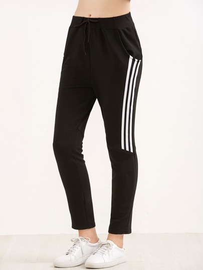 Black Elastic Waist 3 Stripe Pants