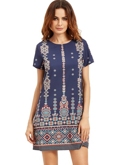 Aztec Print Short Sleeve Shift Dress