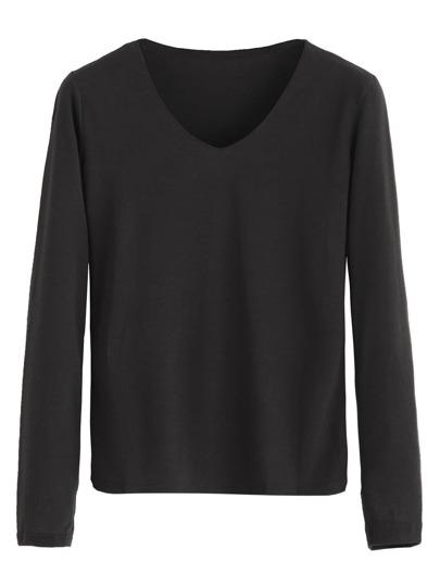 Black V Neck Long Sleeve Basic T-shirt