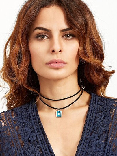 Black Double Layer Rectangle Pendant Choker Necklace