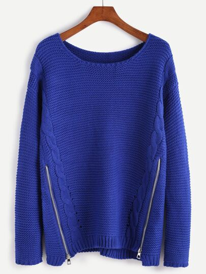 Blue Cable Knit Sweater With Zip Detail