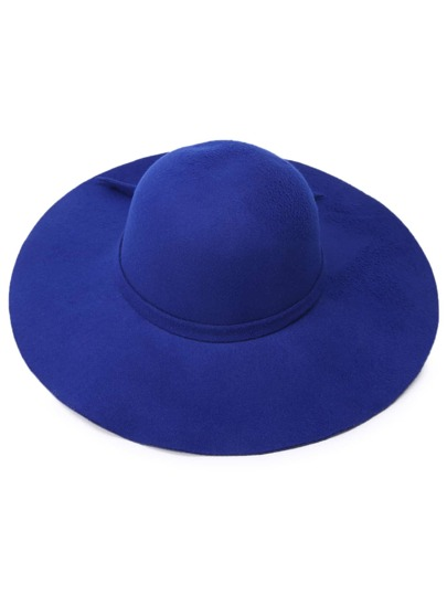 Blue Large Brimmed Matching Tie Floppy Hat