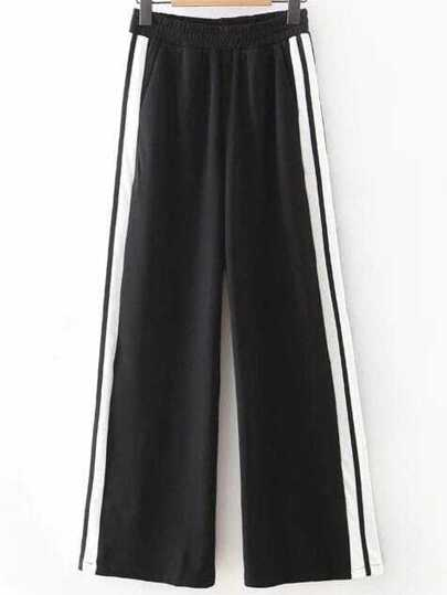 Black Striped Wide Leg Casual Pants