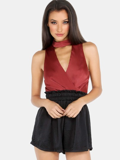 Choker Neck Colorblock Romper WINE BLACK
