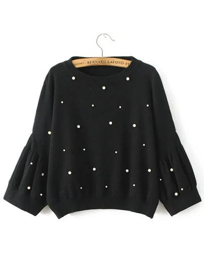 Black Puff Sleeve Ribbed Trim Beaded Sweater