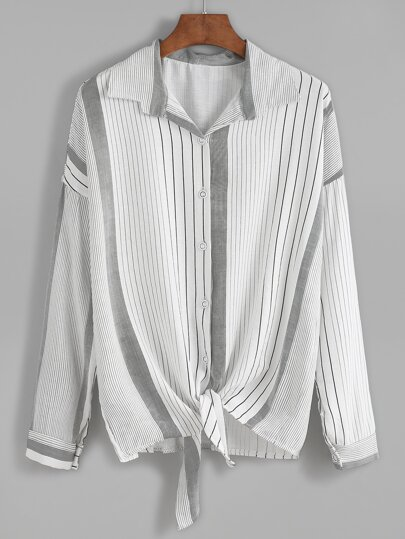 Vertical Striped Drop Shoulder Knot Blouse