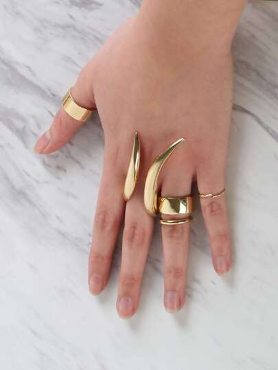 Saber Tooth Metallic Ring Set GOLD