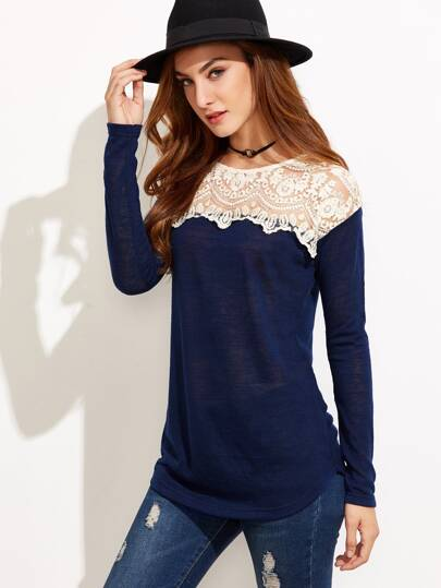 Navy Contrast Embroidered Mesh Neck T-shirt