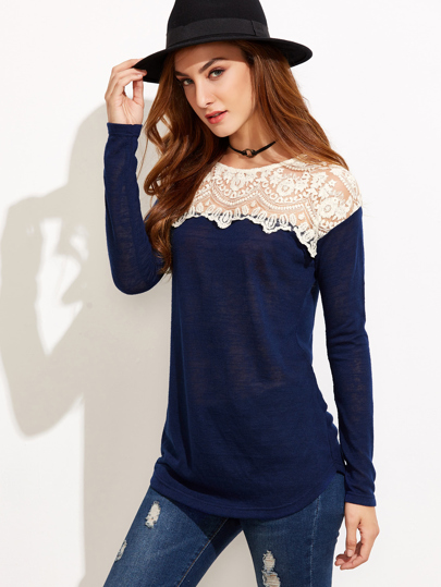 Contrast Embroidered Mesh Tshirt