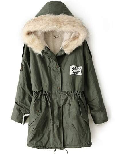 Green Fur Hooded Zipper Embellished Fleece Inside Military Coat
