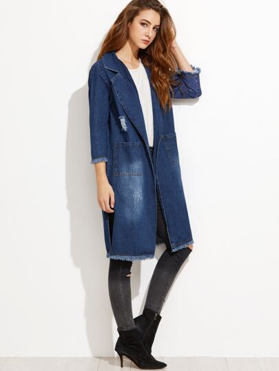 Blue Ripped Slit Side Raw Hem Denim Long Coat