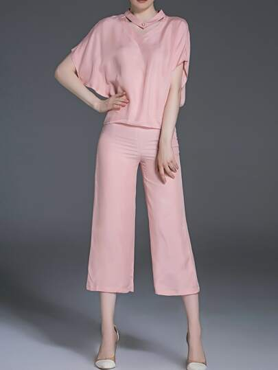 Pink Bat Sleeve Top With Pants