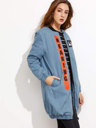 Blue Letter Print Zip Up Denim Bomber Coat